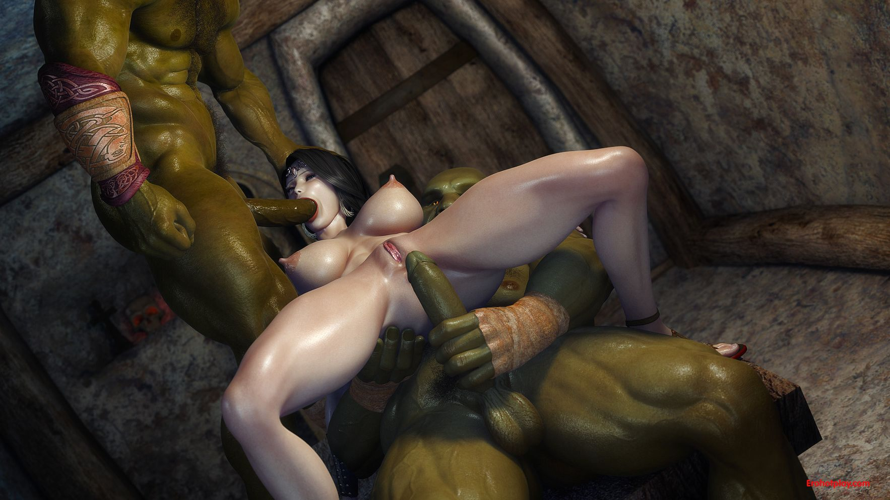 Two orc fuck princess 3d fucks scene