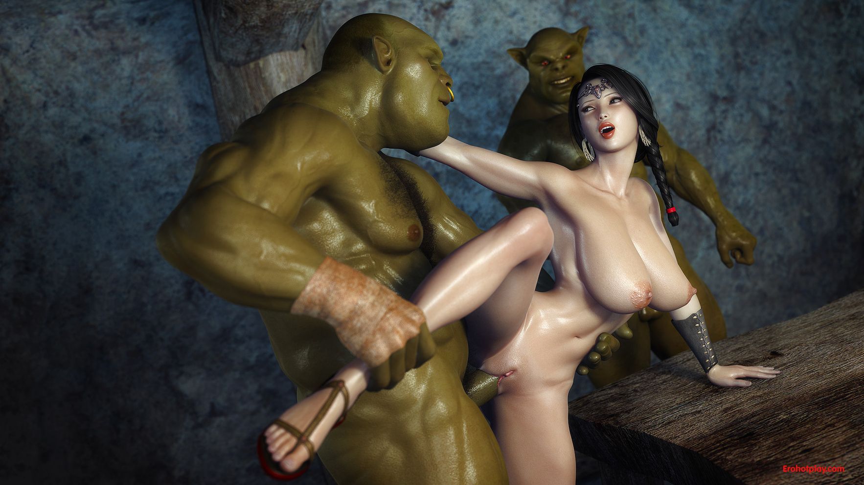Knight girl fuck orc 3d nude whore